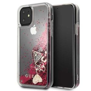 Guess Hülle Glitter Hearts Kollektion GUHCN61GLHFLRA iPhone 11 Himbeere