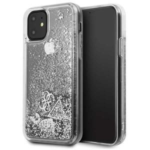Guess Hülle Glitter Hearts Kollektion iPhone 11 Silber GUHCN61GLHFLSI