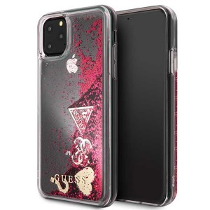 Guess Hülle Glitter Hearts Kollektion iPhone 11 Pro Max Raspberry GUHCN65GLHFLRA