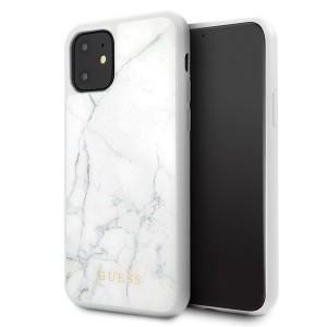 Guess Marble Hülle GUHCN61HYMAWH iPhone 11 Weiß