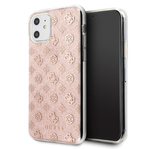 Guess 4G Peony Glitter Hülle GUHCN61TPERG iPhone 11 Pink