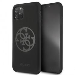 Guess Silikon Hülle 4G Tone On Tone GUHCN65LS4GBK iPhone 11 Pro Max Schwarz