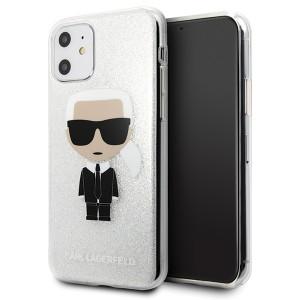 Karl Lagerfeld Glitter Ikonik Karl Hülle KLHCN61TPUTRIKSL iPhone 11 Silber