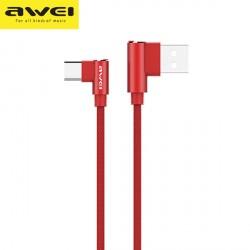 AWEI abgewinkeltes Flechkabel CL-35 USB-C 1,5m 2,4A Schnellladung rot