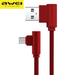 AWEI abgewinkeltes geflochtenes Kabel CL-56 Micro-USB 1,2 m 2,4 A Schnellladung rot