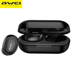 AWEI Bluetooth 5.0 T6 TWS Sport Kopfhörer + Ladestation schwarz