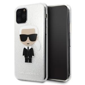 Karl Lagerfeld Glitter Ikonik Karl Hülle KLHCN58TPUTRIKSL iPhone 11 Pro Silber