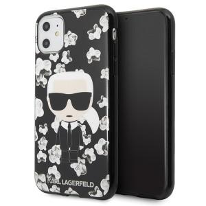 Karl Lagerfeld Flower Ikonik Karl Hülle iPhone 11 Schwarz KLHCN61FLFBBK