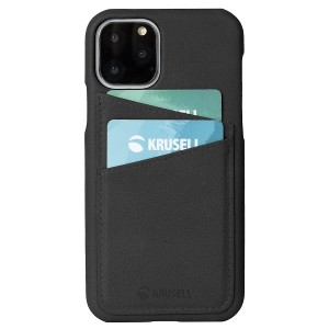 Krusell Lederhülle iPhone 11 Pro Max Sunne 2 Card Cover Schwarz