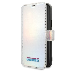 Guess Iridescent Ledertasche iPhone 11 Silber GUFLBKN61BLD