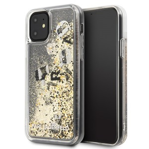 Karl Lagerfeld Glitter Floating Charms Hülle iPhone 11 Gold KLHCN61ROGO