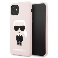 Karl Lagerfeld Hülle Sillicone Iconic iPhone 11 Hellrosa KLHCN61SLFKPI