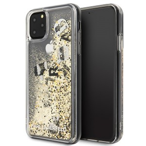 Karl Lagerfeld Glitter Floating Charms Hülle iPhone 11 Pro Max Gold KLHCN65ROGO