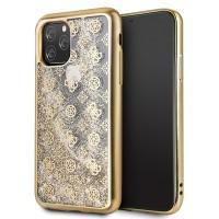 Guess 4G Peony Liquid Glitter Hülle GUHCN58PEOLGGO iPhone 11 Pro Gold