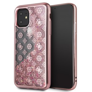 Guess 4G Peony Liquid Glitter Schutzhülle iPhone 11 Rose Gold GUHCN61PEOLGPI