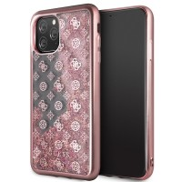 Guess 4G Peony Liquid Glitter Hülle GUHCN65PEOLGPI iPhone 11 Pro Max Rose Gold