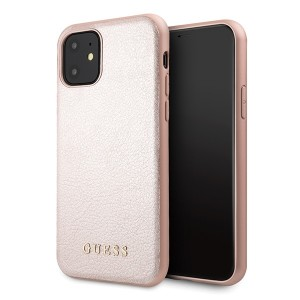 Guess Iridescent iPhone 11 Lederhülle Rose Gold hardcase GUHCN61IGLRG