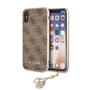 Guess 4G Charms Hülle GUHCPXGF4GBR iPhone Xs / X Braun