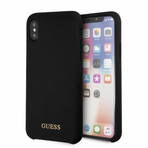 Guess Silicone Hülle GUHCPXLSGLBK iPhone Xs / X schwarz
