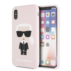 Karl Lagerfeld Silicone Iconic Hülle KLHCPXSLFKPI iPhone Xs / X hardcase Hellrosa