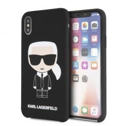 Karl Lagerfeld Silicone Iconic Hülle KLHCPXSLFKBK iPhone Xs / X