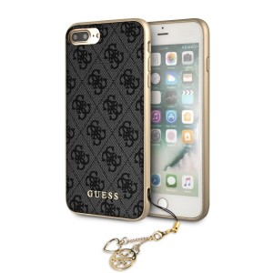 Guess 4G Charms Lederhülle GUHCI8LGF4GGR iPhone 8 Plus / 7 Plus Grau