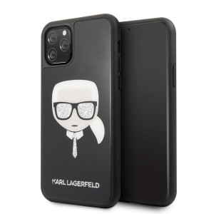 Karl Lagerfeld Iconic Glitter Karl`s Head Hülle KLHCN58DLHBK iPhone 11 Pro schwarz