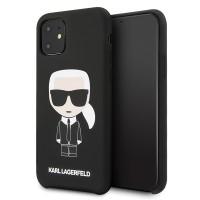Karl Lagerfeld Silicone Iconic Hülle iPhone 11 schwarz KLHCN61SLFKBK