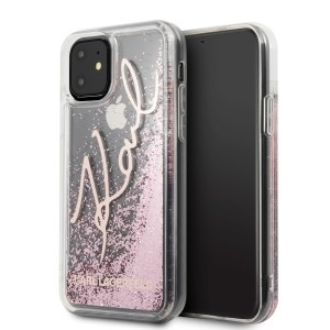 Karl Lagerfeld Glitter Signature Hülle iPhone 11 Rose Gold KLHCN61TRKSRG