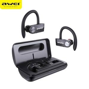 AWEI Bluetooth 5.0 T22 TWS Kopfhörer + Dockingstation / Powerbank 1500mAh schwarz
