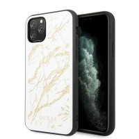Guess Marble Glitter Glass Hülle iPhone 11 Pro Weiß GUHCN58MGGWH