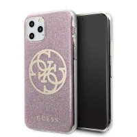 Guess Glitter 4G Circle Hülle iPhone 11 Pro Pink GUHCN58PCUGLPI