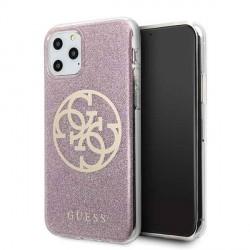 Guess Glitter 4G Circle Hülle iPhone 11 Pro Pink GUHCN58PCUGLPI