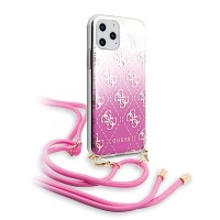 Guess iPhone 11 Pro Hülle 4G Gradient Pink mit Kordel GUHCN58WO4GPI