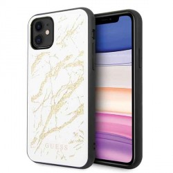 Guess Marble Glitter Glass Hülle iPhone 11 Weiß GUHCN61MGGWH