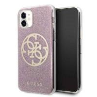 Guess Glitter 4G Circle Schutzhülle iPhone 11 Pink GUHCN61PCUGLPI
