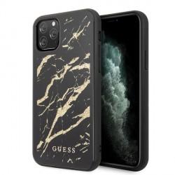 Guess Marmor Glitter Glass Schutzhülle iPhone 11 Pro Max Schwarz GUHCN65MGGBK