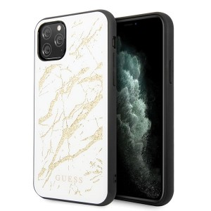 Guess Marble Glitter Glass Hülle iPhone 11 Pro Max weiß GUHCN65MGGWH