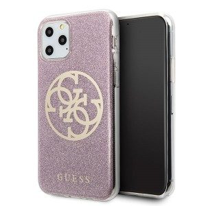 Guess Glitter 4G Circle Hülle iPhone 11 Pro Max Pink GUHCN65PCUGLPI