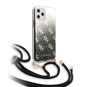 Guess iPhone 11 Pro Max Hülle 4G Gradient schwarz mit Kordel GUHCN65WO4GBK