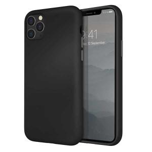 UNIQ Hülle Lino Hybrid Liquid Silikon / Mikrofaser iPhone 11 Pro Max Schwarz