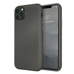 UNIQ Hülle Lino Hybrid Liquid Silikon / Mikrofaser iPhone 11 Pro Max Grau