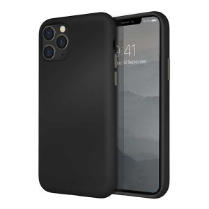 UNIQ Hülle Lino Hybrid Liquid Silikon / Mikrofaser iPhone 11 Pro schwarz