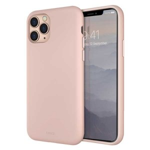 UNIQ Hülle Lino Hybrid Liquid Silikon / Mikrofaser iPhone 11 Pro rose