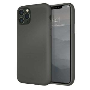 UNIQ Hülle Lino Hybrid Liquid Silikon / Mikrofaser iPhone 11 Pro grau