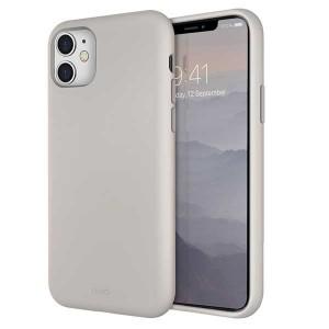 UNIQ Hülle Lino Hybrid Liquid Silikon / Mikrofaser iPhone 11 beige