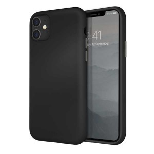 UNIQ Hülle Lino Hybrid Liquid Silikon / Mikrofaser iPhone 11 schwarz