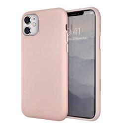 UNIQ Hülle Lino Hybrid Liquid Silikon / Mikrofaser iPhone 11 rose
