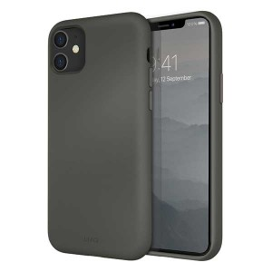 UNIQ Hülle Lino Hybrid Liquid Silikon / Mikrofaser iPhone 11 grau