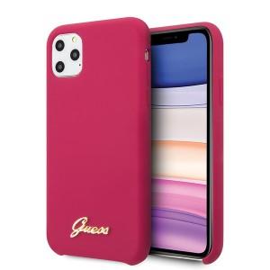 Guess Silikon Vintage Gold Logo Hülle iPhone 11 Pro Pink GUHCN58LSLMGRE